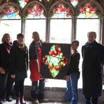Damson Window test panel gifted to Ely Stained Glass Museum